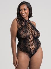 Lovehoney Black Lace and Fishnet Thong Teddy, Black, hi-res