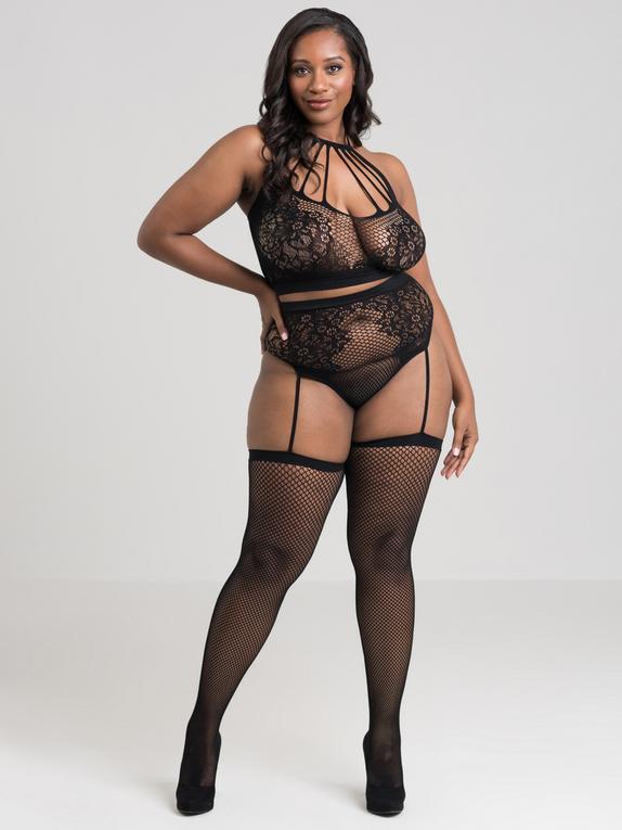 Lovehoney Plus Size Lace and Fishnet Halterneck Bra Set , Black, hi-res