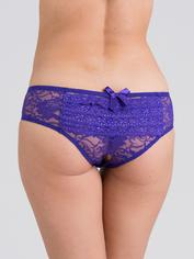 Lovehoney Crotchless Lace Ruffle-Back Panties, Purple, hi-res