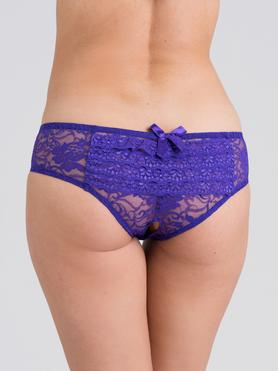 Lovehoney Purple Lace Crotchless Ruffle-Back Knickers