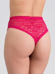 Lovehoney Black High-Waisted Leopard Lace Thong, Pink, hi-res