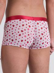 Lovehoney Sweetheart White Heart Pattern Boxer Shorts, White, hi-res