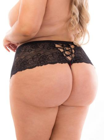 Escante Plus Size Holiday Red and Black Lace-Up Thong