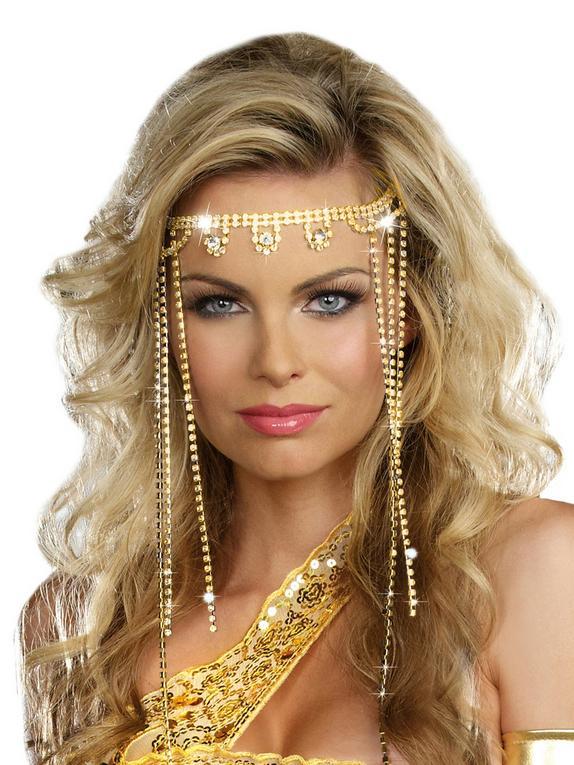 Dreamgirl Golden Goddess Diamante Headpiece, Gold, hi-res