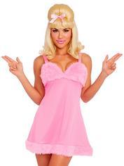 Dreamgirl Pink Femme Fatale Faux Fur Costume, Pink, hi-res
