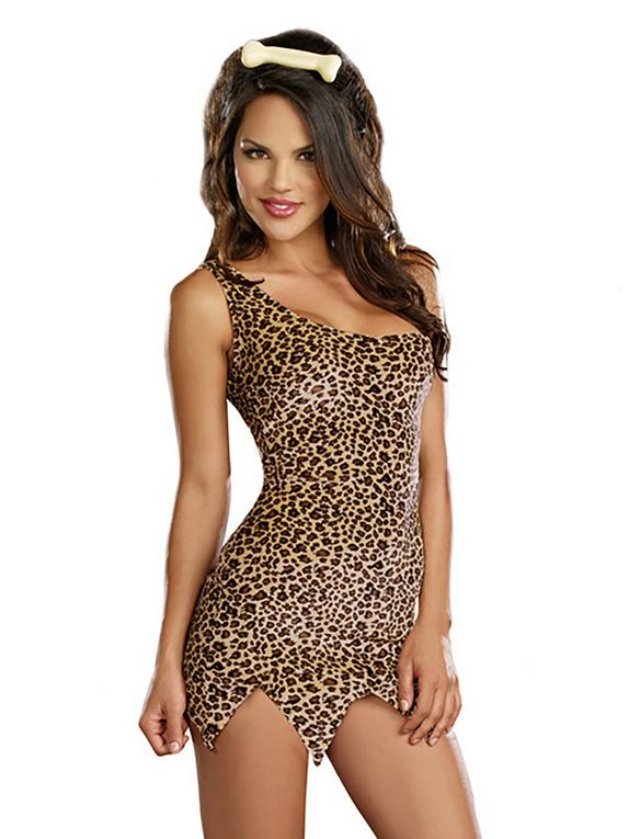 Dreamgirl Cave Woman Leopard Print One Shoulder Dress, Brown, hi-res