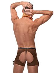 Male Power Cocky Cowboy Costume, Brown, hi-res