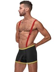 Male Power Hose Me Down Fireman Boxers and Braces , Black, hi-res