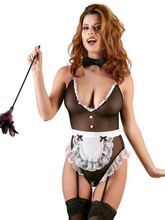 Cottelli French Maid Sheer Crotchless Teddy , Black, hi-res