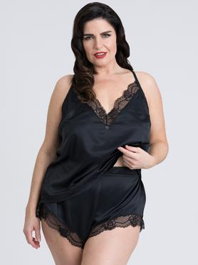 Ensemble caraco culotte satin grande taille Jewel noir, Lovehoney