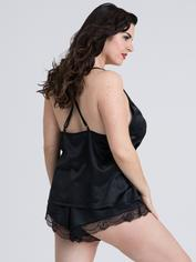 Lovehoney Jewel Satin Black Cami Set, Black, hi-res