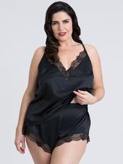 Lovehoney Plus Size Jewel Satin Black Cami Set, Black, hi-res