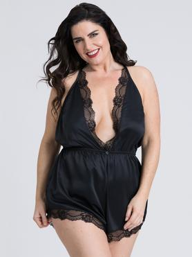Lovehoney Plus Size Jewel Satin Black Plunging Teddy