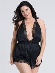 Lovehoney Plus Size Jewel Satin Black Plunging Teddy, Black, hi-res