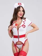 Lovehoney Fantasy Heartbeat Hottie Nurse Costume, White, hi-res