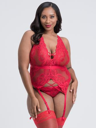 Lovehoney Plus Size Beau Red Lace Basque Set