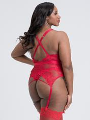 Lovehoney Beau Red Lace Basque Set, Red, hi-res