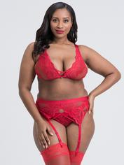 Lovehoney Beau Red Lace Bra Set, Red, hi-res