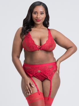 Lovehoney Plus Size Beau Red Lace Bra Set