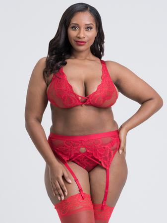 Lovehoney Plus Size Beau Red Lace Bra Set