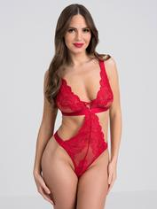 Lovehoney Beau Red Lace Cut-Out Body, Red, hi-res