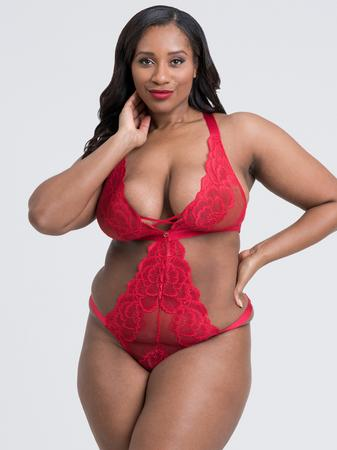 Lovehoney Plus Size Beau Red Lace Cut-Out Teddy