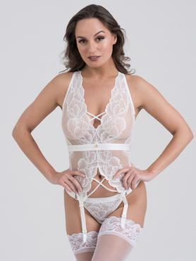 Lovehoney Beau White Lace Basque Set