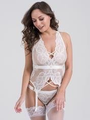 Lovehoney Beau Red Lace Basque Set, White, hi-res