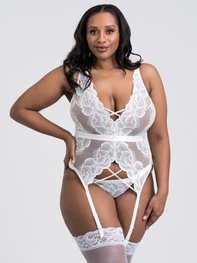 Lovehoney Plus Size Beau White Lace Basque Set