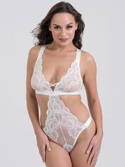 Lovehoney Beau Red Lace Cut-Out Teddy, White, hi-res