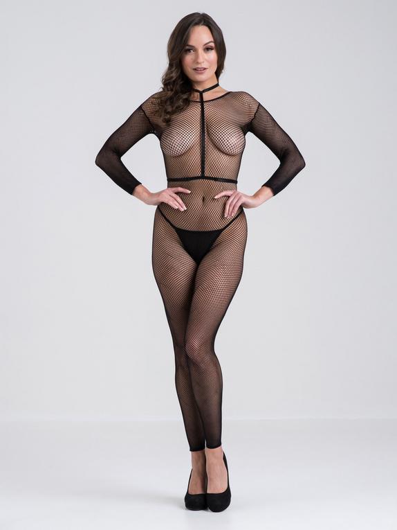 Lovehoney Black Fishnet Harness Crotchless Bodystocking, Black, hi-res