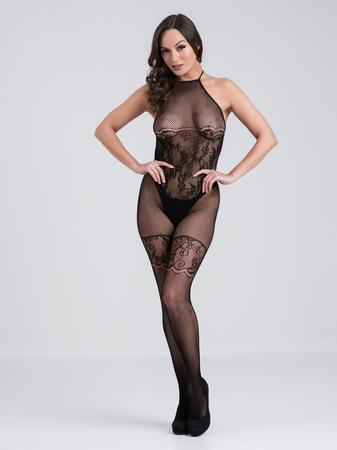 Lovehoney Black Lace and Fishnet Halterneck Crotchless Bodystocking