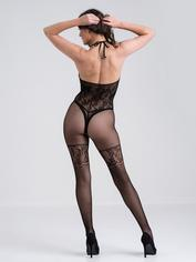 Lovehoney Black Lace and Fishnet Halterneck Crotchless Bodystocking, Black, hi-res