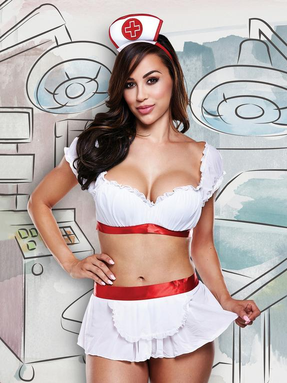 Baci Cheeky Nurse Costume, White, hi-res
