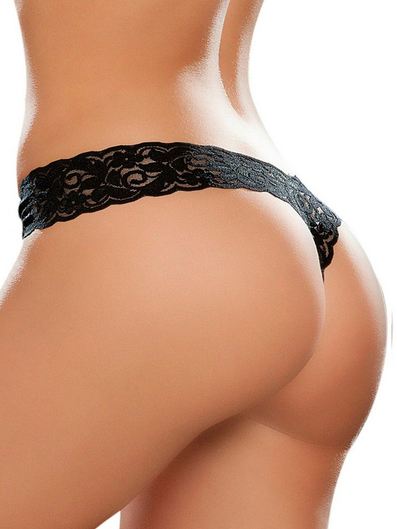 Mapale Hot Pink Lace High Leg Thong, Black, hi-res