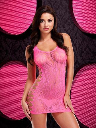 Lapdance Hot Pink Leopard Lace Mini Dress