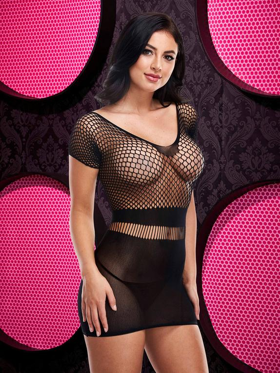 Lapdance Black Fishnet Mini Dress, Black, hi-res