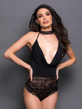 Escante Black Lace Cowl Neck Body