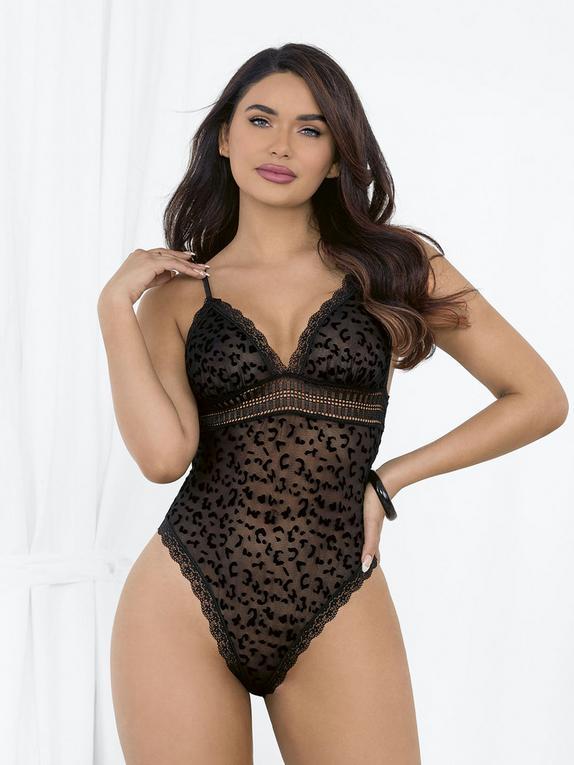 Escante Plus Size Black Sheer Leopard Print Body, Black, hi-res
