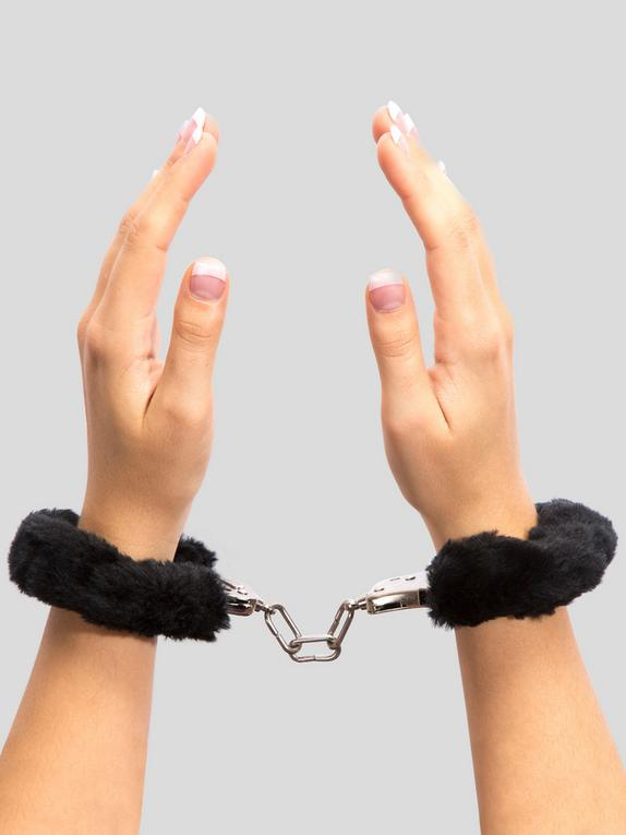 Lovehoney Black Furry Handcuffs, Black, hi-res