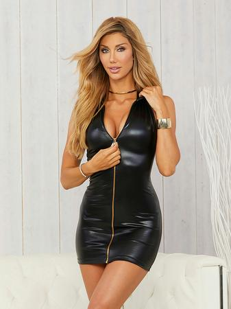 Escante Black Wet Look Zipper Front Mini Dress