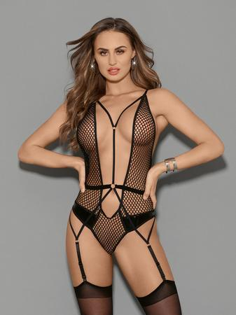 Escante Black Fishnet Plunge Thong Teddy