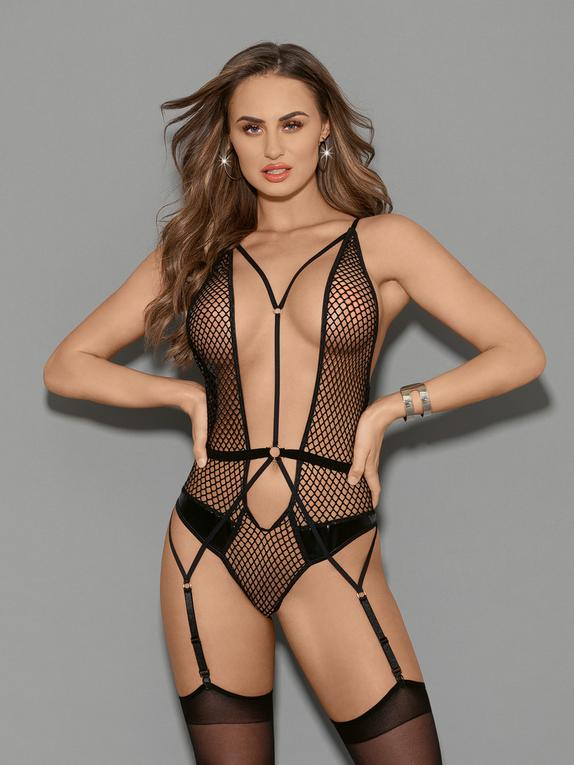 Escante Black Fishnet Plunge Thong Teddy, Black, hi-res