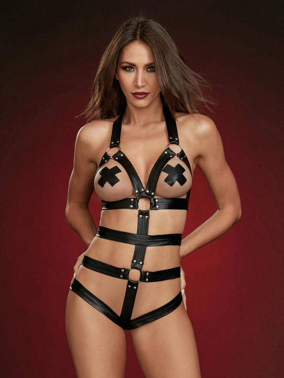 Dreamgirl Black Faux Leather Harness Body , Black, hi-res