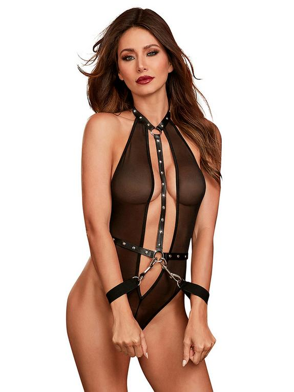 Dreamgirl Faux Leather and Mesh Studded Teddy, Black, hi-res