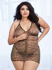 Dreamgirl Plus Size Leopard Print Front Zip Halterneck Chemise Set, Brown, hi-res