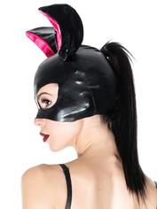Coquette Wet Look Bunny Mask and Gloves Set , Black, hi-res