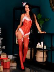 Livia Corsetti Red Sexy Santa Marabou-Trimmed Bodystocking, Red, hi-res