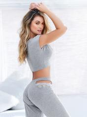 Mapale Grey Jersey Lace Detail Pyjama Set, Grey, hi-res