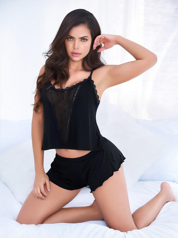 Mapale Black Lace Cami and Shorts Set, Black, hi-res